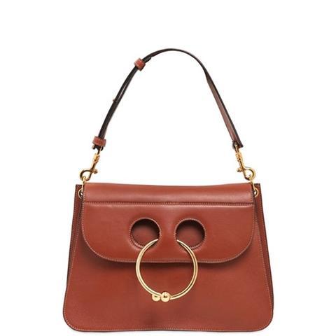 Piercing Detail Leather Shoulder Bag