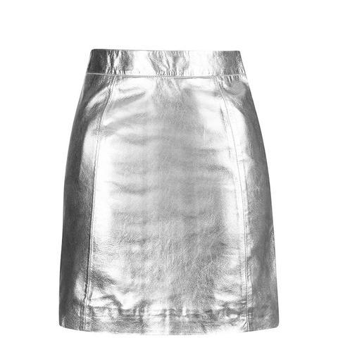 Metallic Leather A-Line Skirt