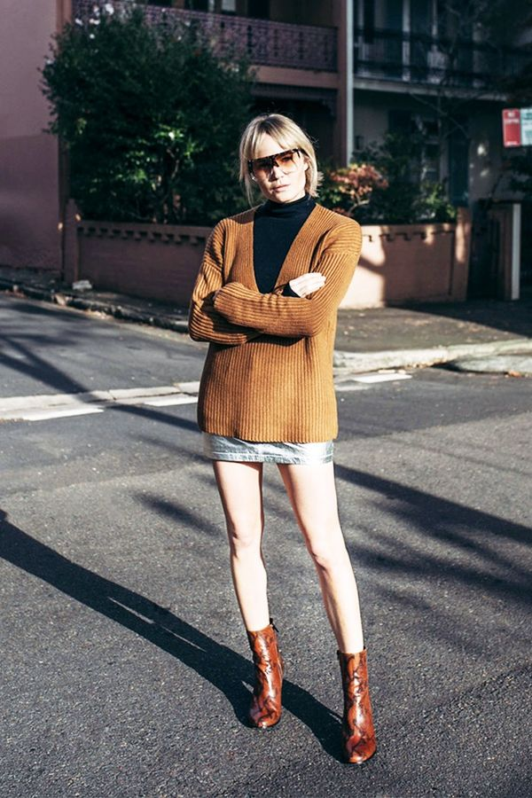Don't know what to do with those deep V-neck sweaters? Wear one over a turtleneck for a cool layering look.