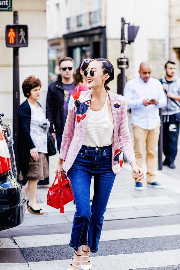 Make a sequined jacket feel more approachable by wearing it with a tank top and frayed denim.
