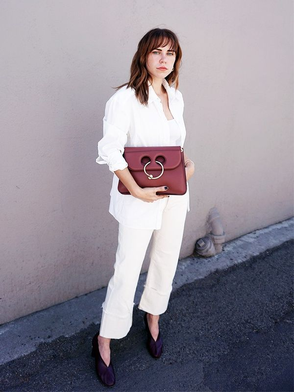 Pair dark accessories with an all-white look.