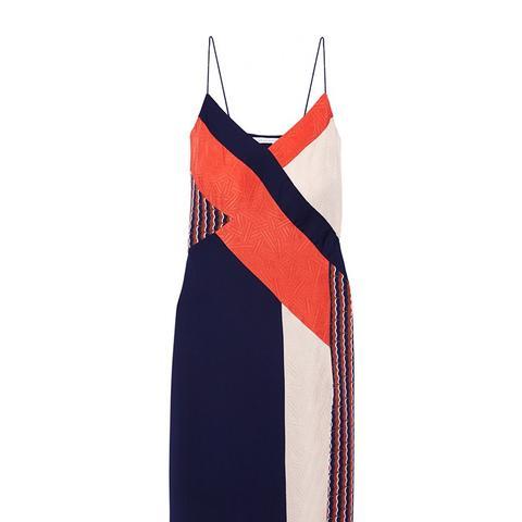 Frederica Paneled Printed Stretch-Silk Dress
