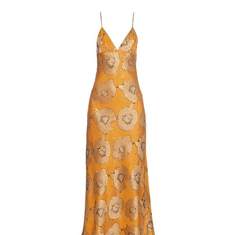 Dehli Floral-Jacquard Slip Dress