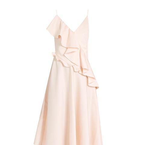 Asymmetric-Ruffle Sleeveless Dress