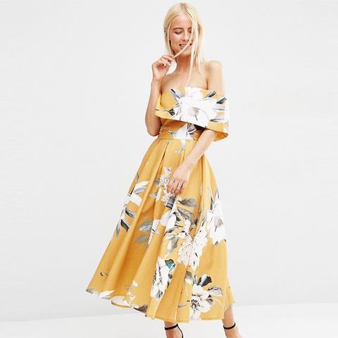 Premium Off The Shoulder Bardot Midi Prom Dress