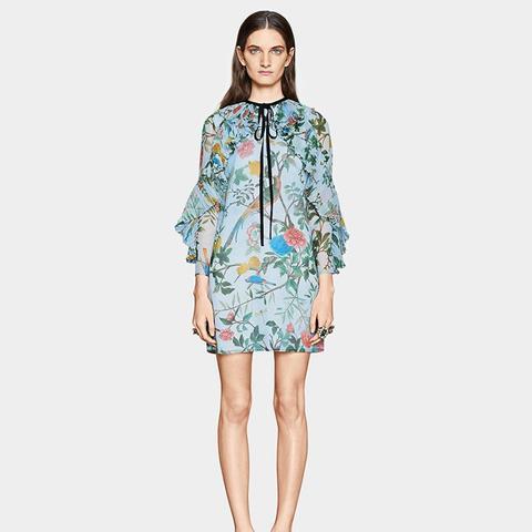 Tian Print Silk Plissé Dress