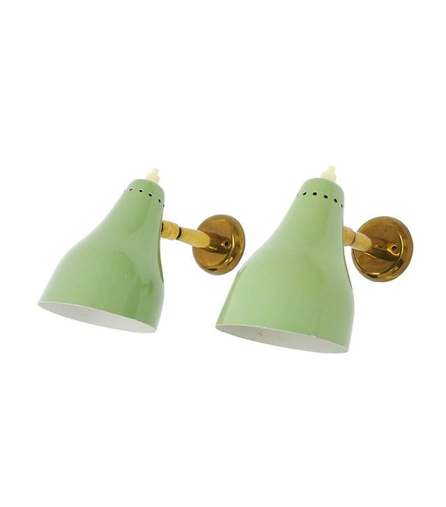 Giuseppe Ostuni for O-Luce Pair of Mint Colored Sconces