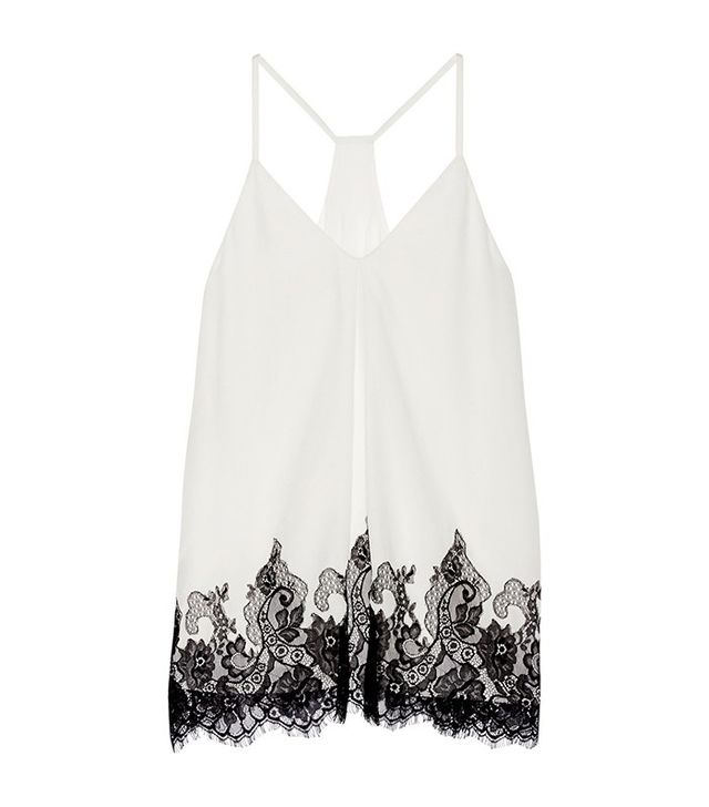 Alice and  Olivia Rowena Lace-Trimmed Silk-Georgette Top