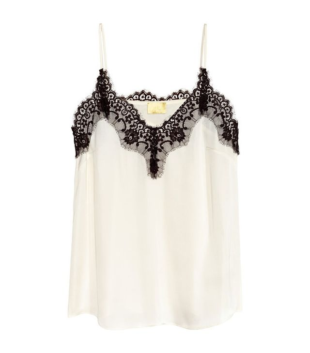 H&M Satin Camisole Top With Lace