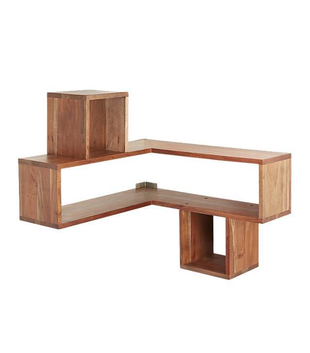 CB2 Corner Block Wood Shelf
