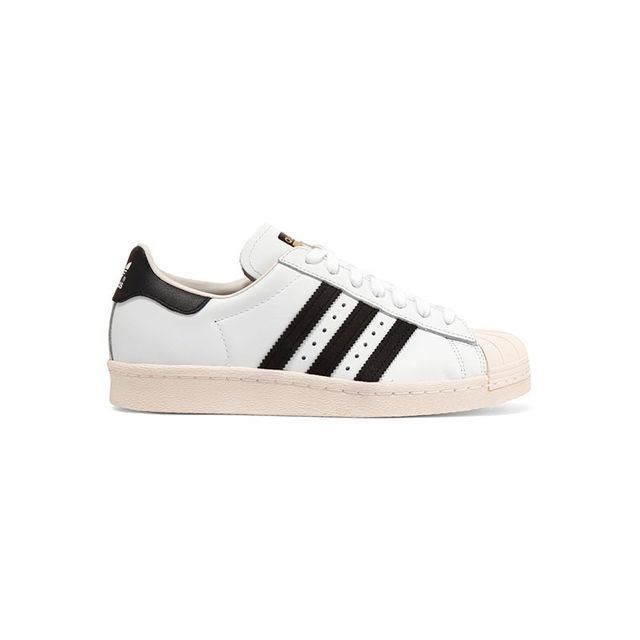 Adidas Superstar 80s Suede-Trimmed Leather Sneakers