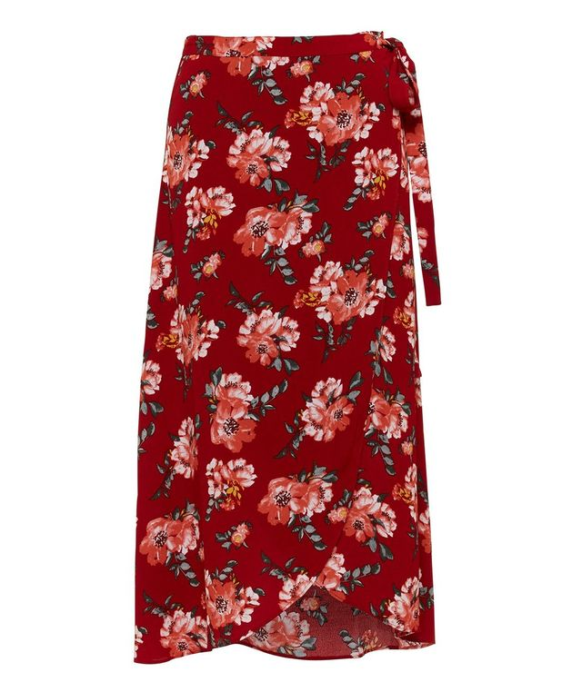 Zara Printed Accordion Pleated Mid Length Skirt