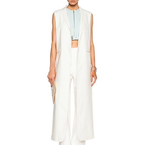 Washed Linen Long Slit Vest