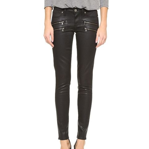 Edgemont Ultra Skinny Black Silk Wash With Zips