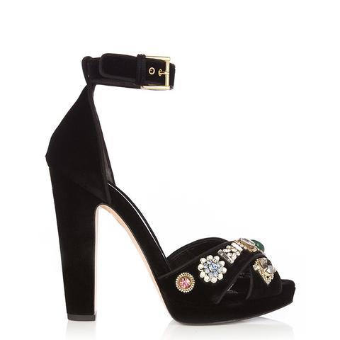 Embellished Crossover-Strap Velvet Sandals
