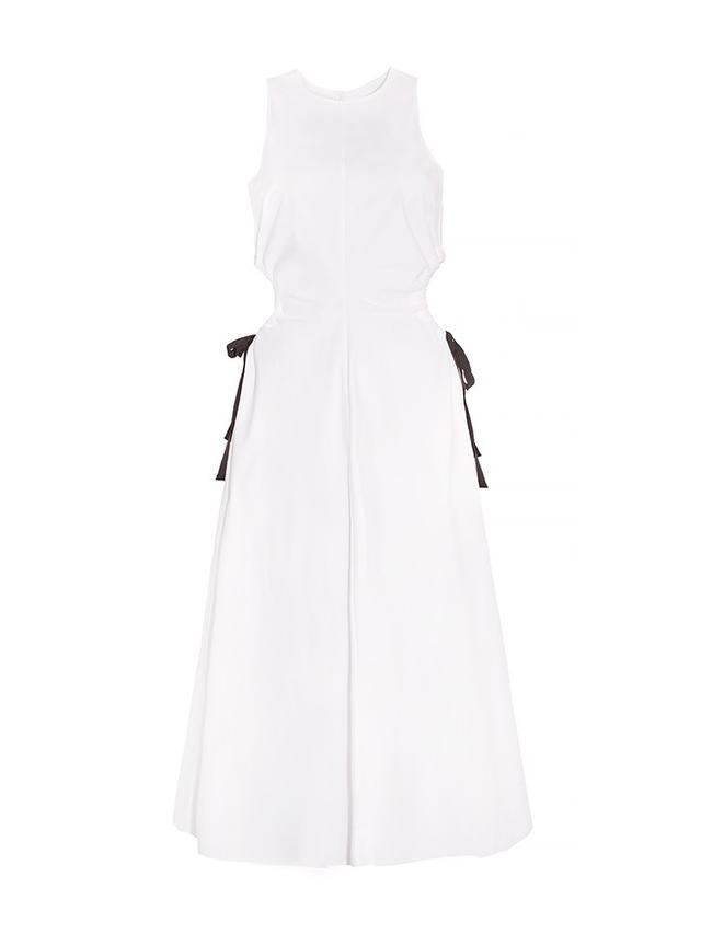 Pixie Market White Waist Cut Out Midi Dress