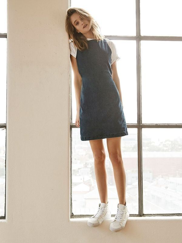 Make a white tee and denim minidress your go-to weekend look.