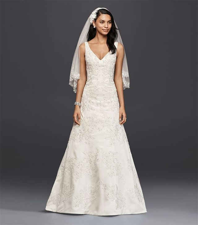 Oleg Cassini V-Neck Lace A-Line Wedding Dress