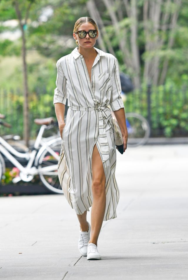On Olivia Palermo: Le Specs Half Moon Magic Sunglasses ($59); Chelsea28 + Olivia Palermo dress; Kenneth Cole Kam Sneaker ($120).  Similar style: Topshop Stripe...