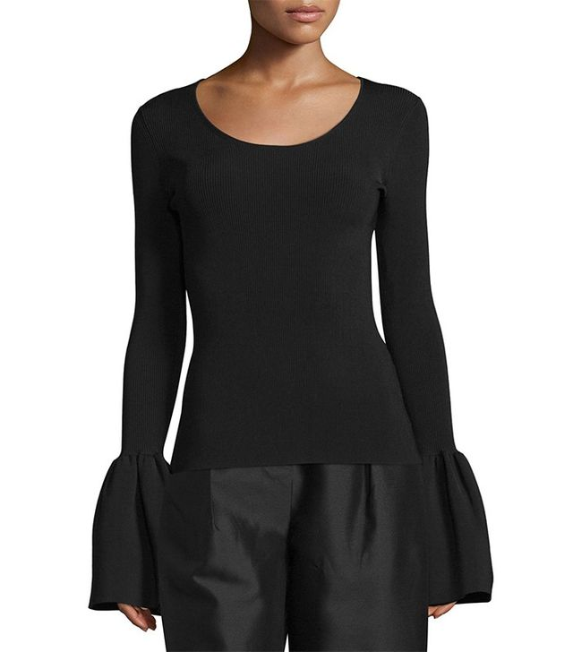 Elizabeth and James Willow Ribbed Bell-Sleeve Top