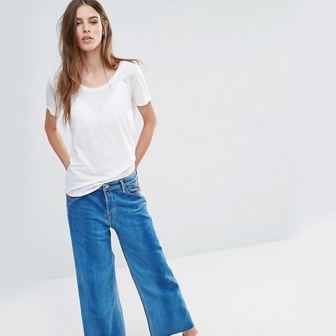 Wide Leg Cropped High Rise Jeans