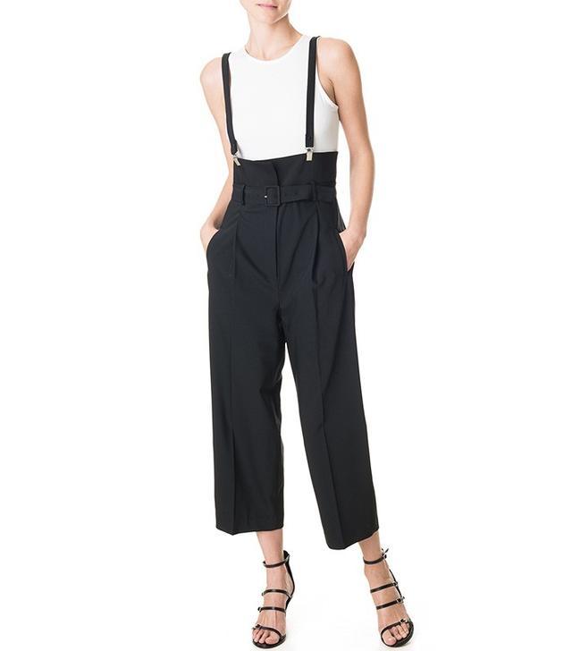 Tibi Tropical Wool Suspender Pants