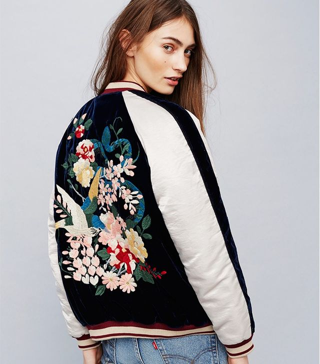 Free People Embroidered Floral Bomber
