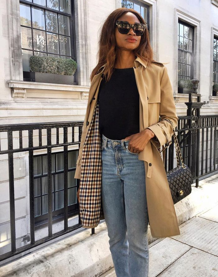 Best trench coats: Lorna of Symphony of Silk wearing an Aquascutum trench