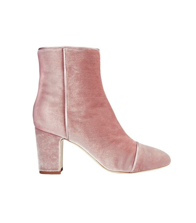 Polly Plume Jackie Velvet Booties in Pink