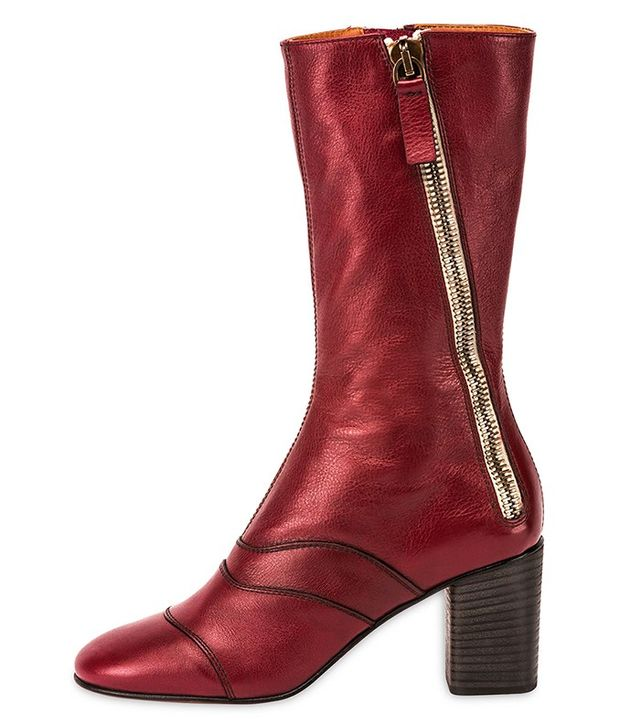 Chloé Side-Zip Leather 70mm Mid-Calf Boots