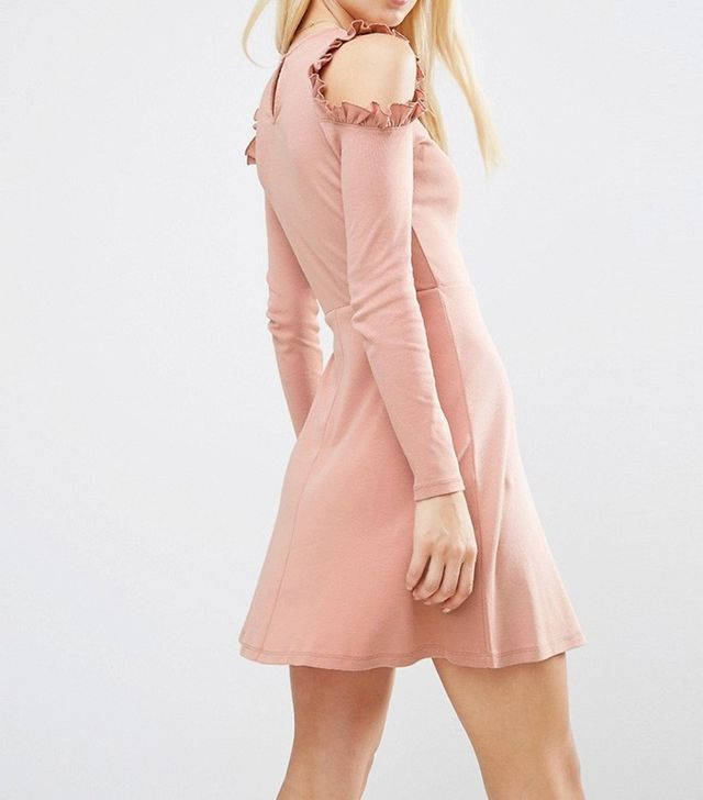 ASOS Skater Dress With Frill Detail and Cut Out Shoulder