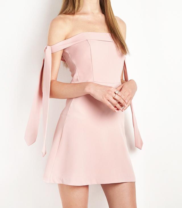 New Revival Blush Anika Arm Sleeve Tie OTS Dress