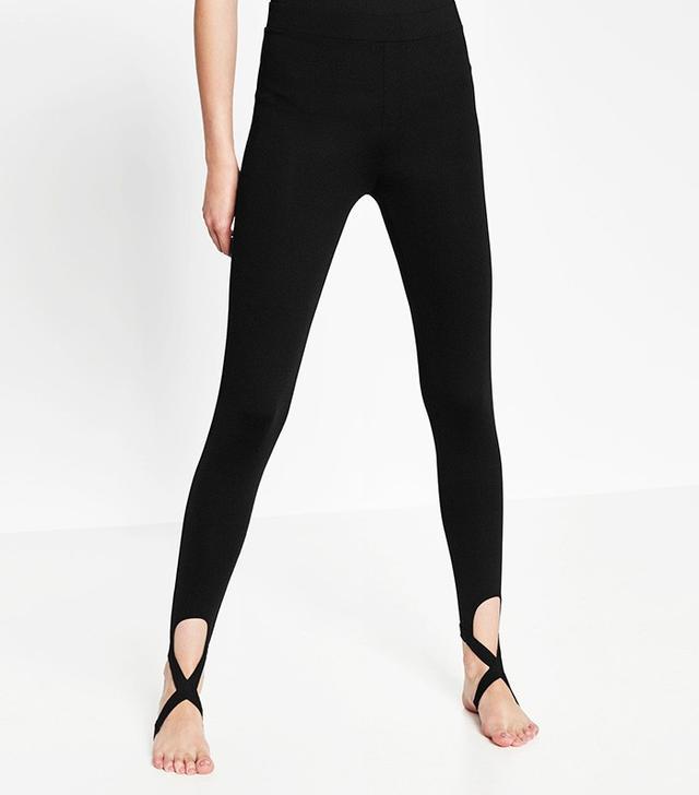 Zara Ballet Leggings With Crossover Ankle Strap