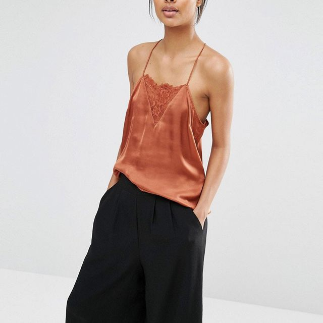 Selected Lovely Strappy Top With Lace Insert