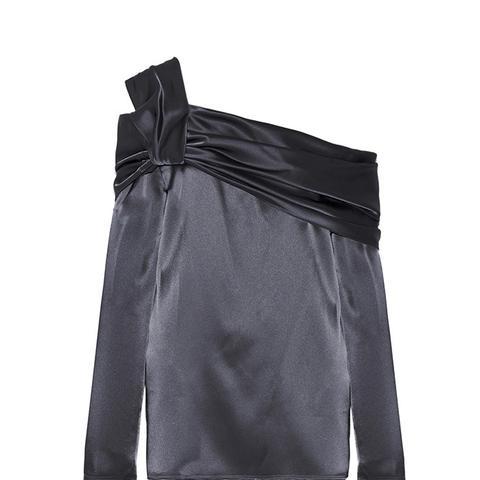 One-Shoulder Satin Top