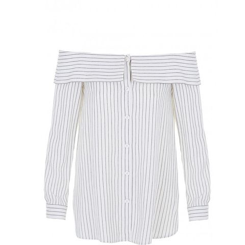 Frederic Pinstripe Off-the-Shoulder Top