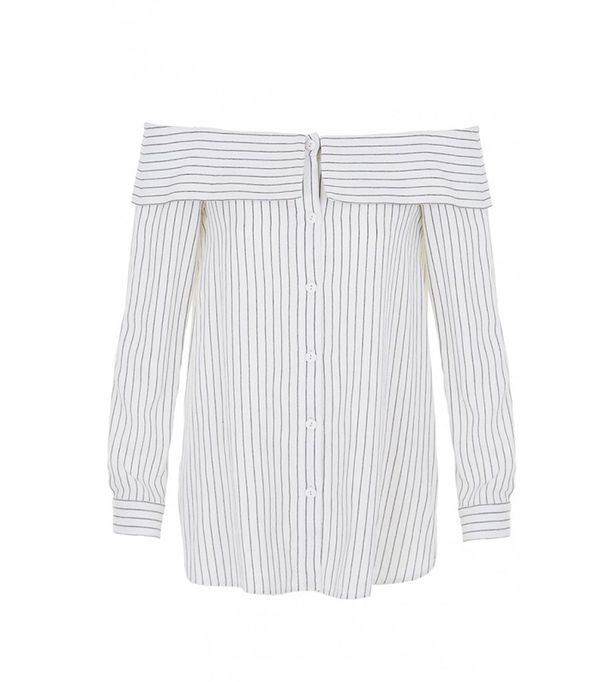Tibi Frederic Pinstripe Off-the-Shoulder Top