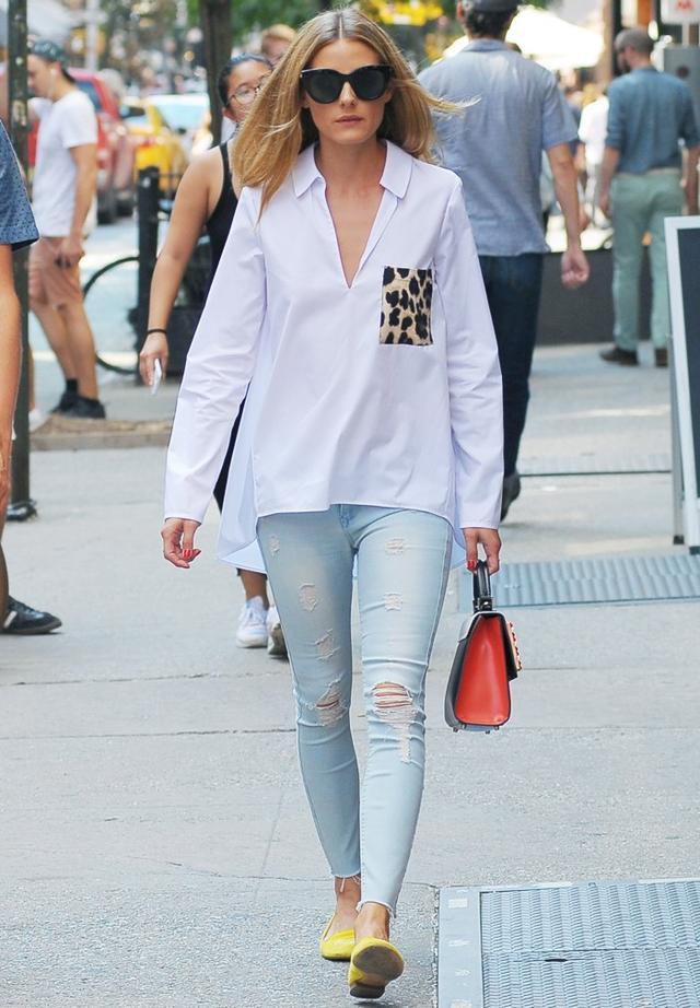 On Olivia Palermo: Zara Poplin Shirt(£26); Black Orchid Jude Mid Rise Super Skinny(£76); ShoShoes Helene Loafer(£284). Shop similar: Les Petits Joueurs Mini...