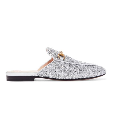 Princetown Horsebit-Detailed Glittered Leather Slippers
