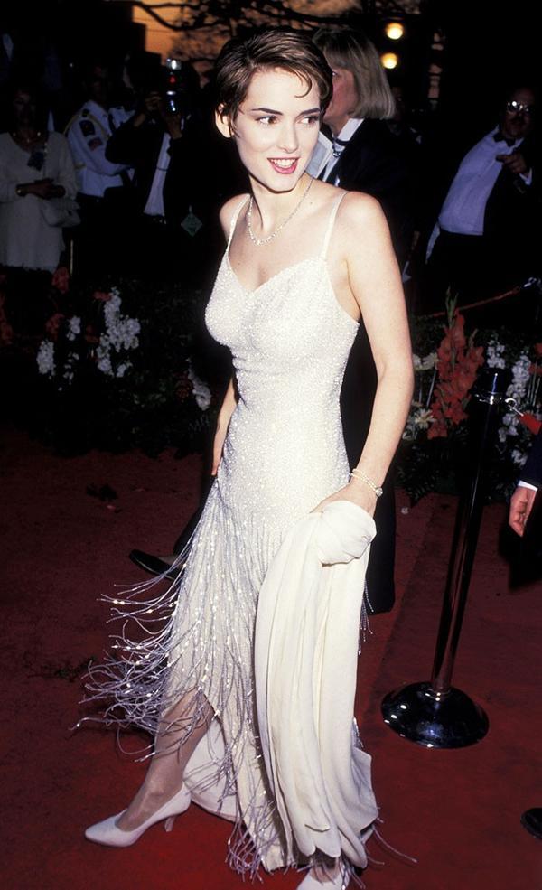 winona ryder wearing slip dress