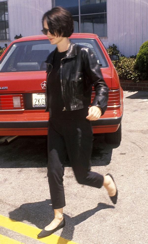 winona ryder 90s wearing leather jacket