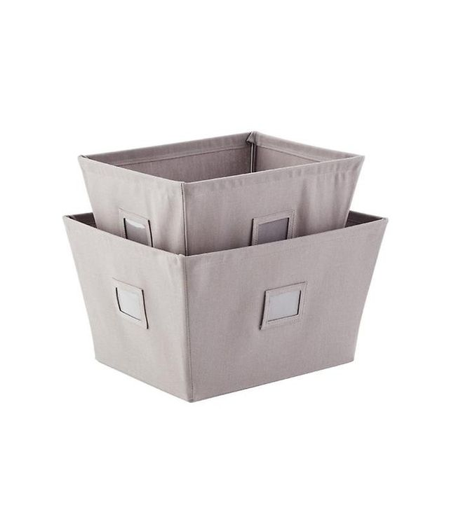 Container Store Grey Open Canvas Bins
