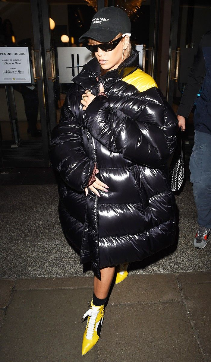 Rihanna puffy coat in London