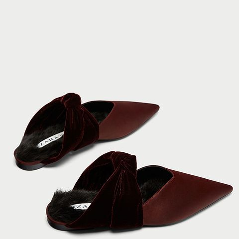 Velvet Backless Shoes With Bow