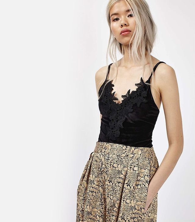 Topshop Velvet Applique Bodysuit