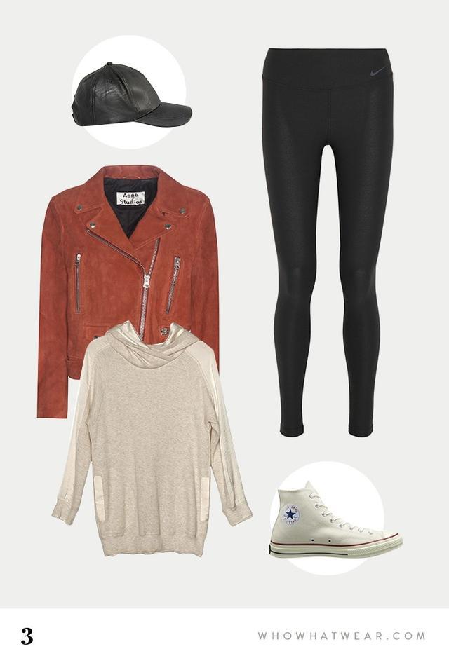 SHOP:New Look Leather Look Cap($17); Acne Studios Exclusive Mock Suede Jacket ($1600); Art Dept. Crossover Hoodie($295); Nike Legend 2.0 Stretch-Jersey Leggings($70);...