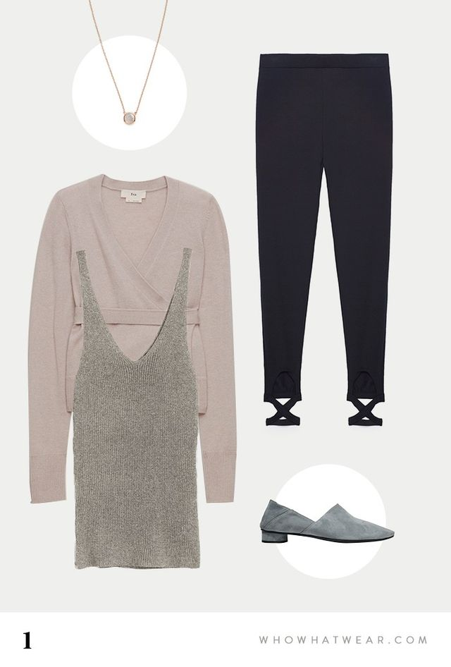 SHOP:ShashiCircle Chain Necklace($56); TNABoule Sweater($98); H&MV-Neck Top($30); Zara Ballet Leggings With Crossover Ankle Strap($23); The Row...