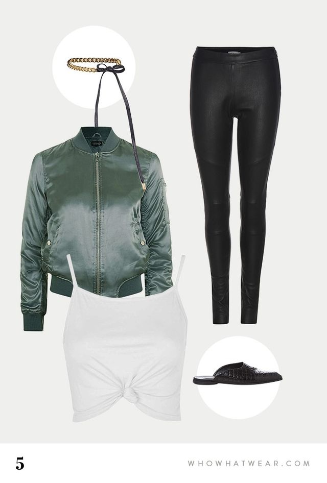SHOP: Are You Am I Dassa Chain Choker($149); Topshop Shiny Ma1 Bomber($85);Knot Front Cami Vest($14); Calvin Klein Jeans Exclusive Leather Leggings($598); Stella...