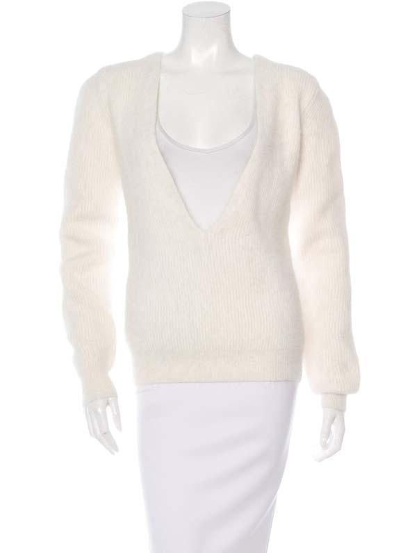 Anthony Vaccarello Angora V-Neck Sweater