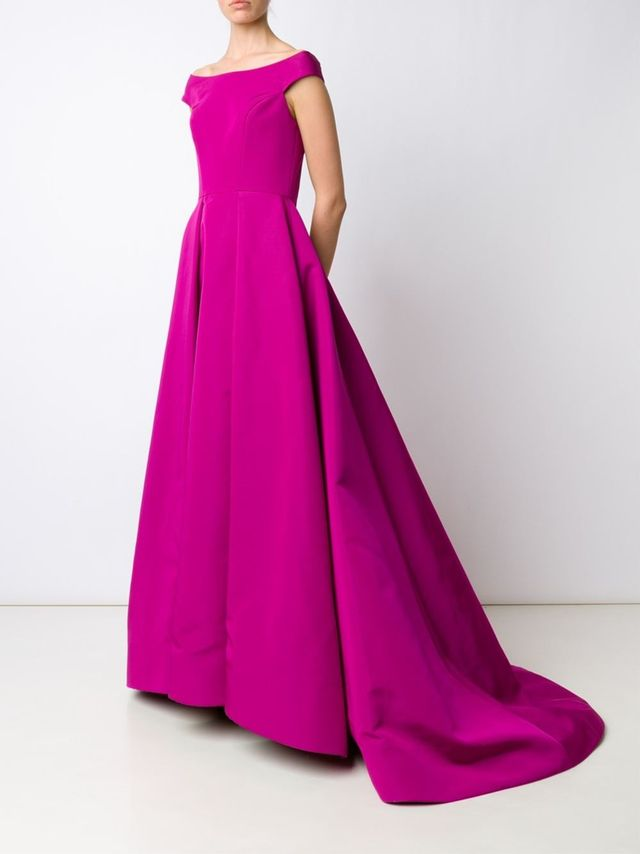 Christian Siriano Off-Shoulder Pleated Dress